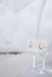 Beautiful glasses of champagne and wine, wedding decor, celebration, close-up Royalty Free Stock Photography