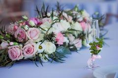 Beautiful glasses of champagne and wine, wedding decor, celebration, close-up Stock Photography