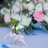 Beautiful glasses of champagne and wine, wedding decor, celebration, close-up Royalty Free Stock Photo