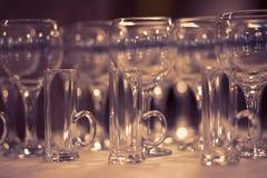 Beautiful glasses defocused on buffet table in restaurant Stock Photo