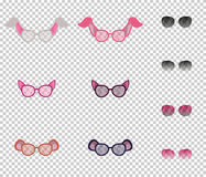 Beautiful glasses with ears of animals, set. Transparent lenses, and additional lenses with variable transparency. Royalty Free Stock Photography