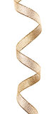 Beautiful glitter gold ribbon tape curl isolated. On white background stock photo