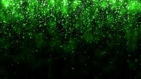 Beautiful glitter light background. Background with green falling particles template for premium design. Magic light