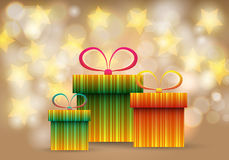 Beautiful glittering Christmas gift boxes Royalty Free Stock Photos