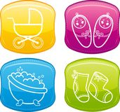 Beautiful glossy buttons - Baby icons. Royalty Free Stock Images