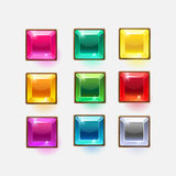 Beautiful glossy crystal square shapes for web or game design. Vector colorful shiny buttons on white background.vector elements. Gui elements, vector isolated Royalty Free Stock Photo