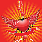 Beautiful glossy heart. With wings on a red background Royalty Free Stock Photos