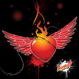 Beautiful glossy heart. With wings, barbed wire, fire on dark background Royalty Free Stock Photos