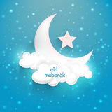 Beautiful glossy moon and star for Eid celebration. Royalty Free Stock Image