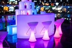 Beautiful glowing Design Night Cafe in city Stock Photo