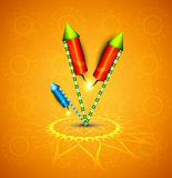 Beautiful glowing festival cracker on artistic design.  Stock Images