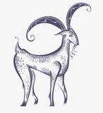 Beautiful goat symbol image. Fabulous goat. Symbolic image of unusual animal Stock Image