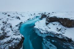 Beautiful Godafoss-Waterfall in Winter Covered in Snow, Iceland stock photo