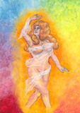 Beautiful Goddess dancing 2017. An abstract illustration of a mysterious young divine woman surrounded by shining light in front of a rainbow colored background Stock Image
