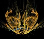 Beautiful gold alien`s mask abstract design fractal composition. Gorgeous abstract bright yellow colorful graphic pattern on a black background generated by Royalty Free Stock Photography