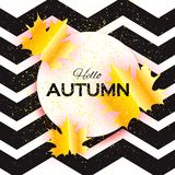 Beautiful Gold Autumn paper cut leaves. Hello Autumn. September flyer template. Circle frame. Space for text. Origami. Foliage. Maple. Fall zigzag poster Royalty Free Stock Photography