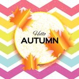 Beautiful Gold Autumn paper cut leaves. Hello Autumn. September flyer template. Circle frame. Space for text. Origami Royalty Free Stock Images