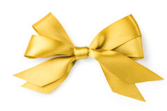 Beautiful gold bow on white background. Isolate Stock Photography