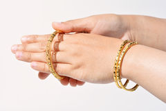 Beautiful gold bracelet Stock Image