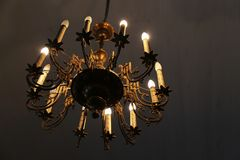 Beautiful gold chandelier stock photography