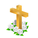 Beautiful gold cross and roses illustration Royalty Free Stock Images