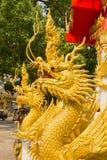 Beautiful gold dragon statue at Wat Mai Kham Wan temple, Phichit Stock Images