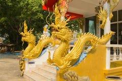 Beautiful gold dragon statue at Wat Mai Kham Wan temple, Phichit Royalty Free Stock Photos