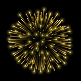 Beautiful gold firework. Golden salute  on black background. Light decoration firework for Christmas, New Year. Celebration, holiday, festival, birthday card Stock Images