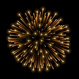 Beautiful gold firework. Golden salute isolated on black background. Light decoration firework for Christmas, New Year. Celebration, holiday, festival, birthday Stock Photography