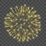 Beautiful gold firework. Golden salute isolated transparent background. Light decoration firework for Christmas, New. Year celebration, holiday, festival Stock Image