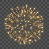 Beautiful gold firework. Golden salute isolated transparent background. Light decoration firework for Christmas, New. Year celebration, holiday, festival Royalty Free Stock Photography
