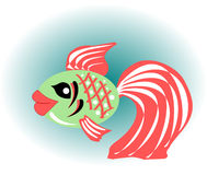 Beautiful gold fish with red fins Stock Images