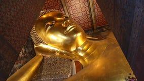 Beautiful Gold Image Buddha Posture Sleep Of Thailand stock footage