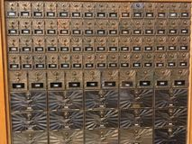 Beautiful Gold Mailboxes. Post office box in gold and copper Royalty Free Stock Images
