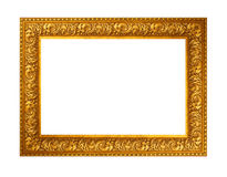 Beautiful gold plated wooden frame isolated on white background Royalty Free Stock Photos