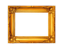 Beautiful gold plated wooden frame isolated on white background Royalty Free Stock Image