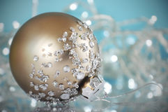 Beautiful gold and rhinestone Christmas tree ornament Royalty Free Stock Images