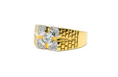 Beautiful Gold ring with diamond isolated Royalty Free Stock Photography