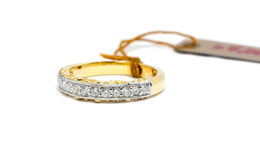 Beautiful Gold ring with diamond isolated Stock Photo