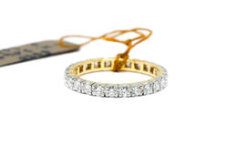 Beautiful Gold ring with diamond isolated Stock Photography