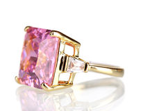 Beautiful gold ring with precious stone Stock Photography