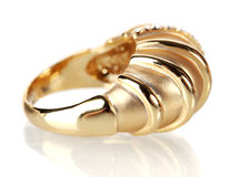 Beautiful gold ring with precious stones Stock Images
