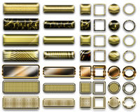 A beautiful gold selection of website buttons in different shapes. A colorful gold selection of buttons to add to your website on the internet Stock Photos