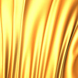 Beautiful gold silk waves fabric luxury background. 3d render illustration Royalty Free Stock Photography