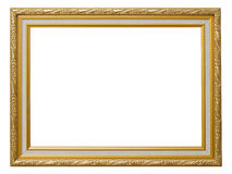 Beautiful gold vintage frame luxury isolated white background. Stock Photos