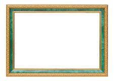 Beautiful gold vintage frame luxury jade isolated white backgrou Stock Image