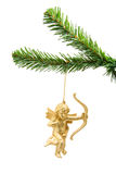 Beautiful golden angel ball on christmas tree Stock Photo