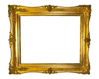 Beautiful golden antique frame isolated on white Royalty Free Stock Photo