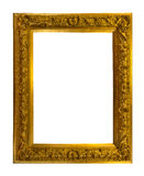 Beautiful golden antique frame isolated on white. Background Stock Photo