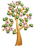 Golden tree with green apples and white flowers Royalty Free Stock Image